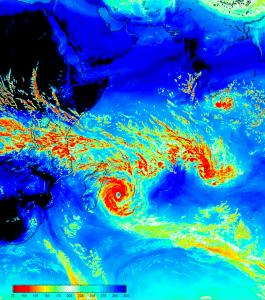 Cyclone (ici sur Madagascar) visualisé par le champ instantané d'OLR (Outgoing Longwave Radiation, exprimé en W/m2) produit sur la machine PRACE CURIE grâce au modèle NEMO-WRF. Le Cerfacs a participé à l'assemblage de ce modèle dans le cadre du projet ANR PULSATION.