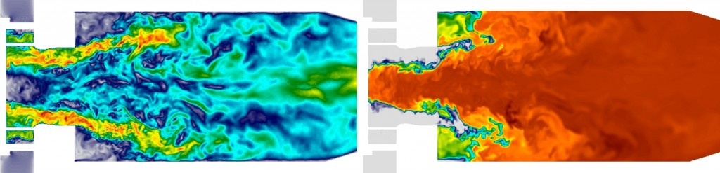 Instantaneous fields of velocity (left) and temperature (right) in a methane-air industrial combustor